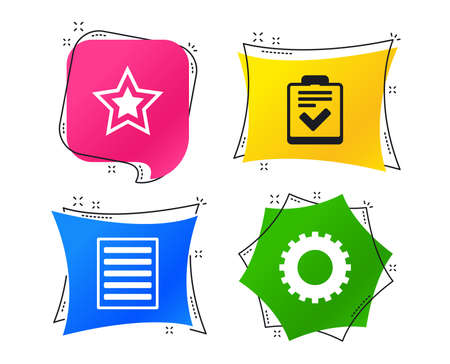 Photo pour Star favorite and menu list icons. Checklist and cogwheel gear sign symbols. Geometric colorful tags. Banners with flat icons. Trendy design. Vector - image libre de droit