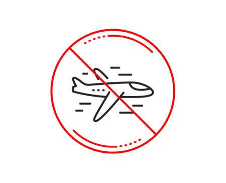 Ilustración de No or stop sign. Airplane line icon. Plane flight transport sign. Aircraft symbol. Caution prohibited ban stop symbol. No  icon design.  Vector - Imagen libre de derechos