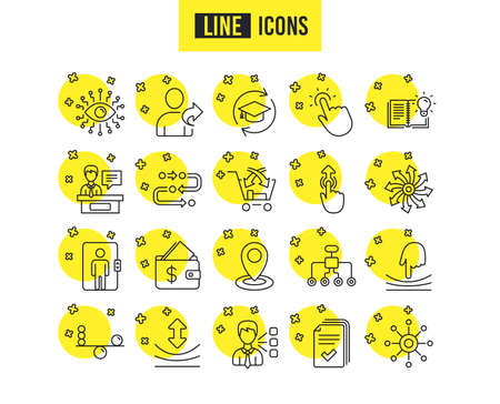 Illustration for Artificial intelligence, Balance and Refer a friend line icons. Continuing education, Methodology and Exhibitors signs. Swipe up, Elastic and Click here symbols. Vector - Royalty Free Image