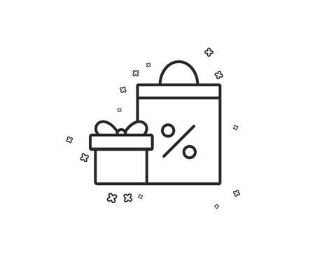 Gift box with Shopping bag line icon. Present or Sale sign. Birthday Shopping with Discounts symbol. Package in Gift Wrap. Geometric shapes. Random cross elements. Linear Shopping icon design. Vector