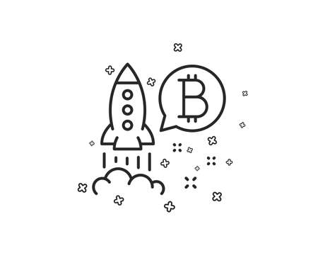 Ilustración de Bitcoin line icon. Cryptocurrency startup sign. Crypto rocket symbol. Geometric shapes. Random cross elements. Linear Bitcoin project icon design. Vector - Imagen libre de derechos