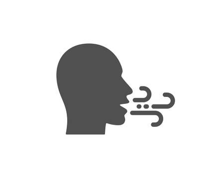 Illustration pour Breathing icon. Breath difficulties sign. Respiration problems symbol. Quality design element. Classic style icon. Vector - image libre de droit