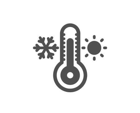 Illustration for Thermometer icon. Cold and warm thermostat sign. Winter, summer symbol. Snowflake and sun. Quality design element. Classic style icon. Vector - Royalty Free Image