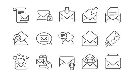 Illustration pour Mail message line icons. Newsletter, E-mail, Correspondence. Communication linear icon set.  Vector - image libre de droit