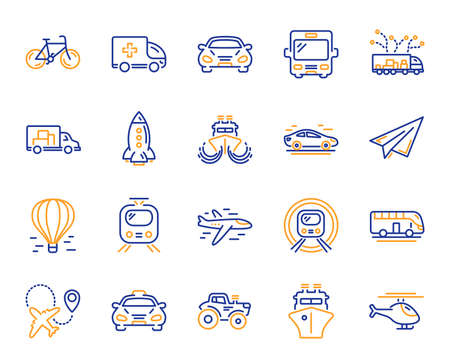 Illustration pour Transport line icons. Taxi, Helicopter and subway train icons. Truck car, Tram and Air balloon transport. Bike, Airport airplane and Ship, subway. Travel bus, ambulance car, paper airplane. Vector - image libre de droit