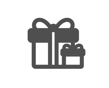 Gift boxes icon. Present or Sale sign. Birthday Shopping symbol. Package in Gift Wrap. Quality design element. Classic style icon. Vector