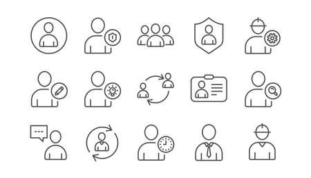 Illustration pour User person line icons. Profile, Group and Support. People linear icon set.  Vector - image libre de droit