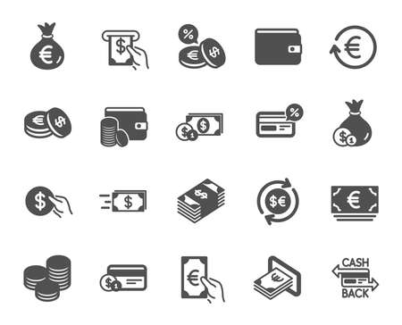 Illustration for Money wallet icons. Set of Credit card, Cash and Coins icons. Banking, Currency exchange and Cashback service. Wallet, Euro and Dollar money, credit card. Cash exchange, bank payment. Vector - Royalty Free Image