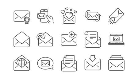 Mail message line icons. Newsletter, E-mail, Correspondence. Communication linear icon set.  Vector