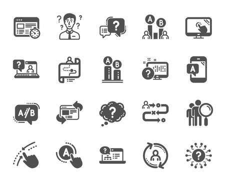 Illustration pour UX icons. Set of AB testing, Journey path map and Question mark icons. Usability quiz test, Ux Ui and User flow. Project process, ab testing graph, survey test results. Quiz question. Vector - image libre de droit