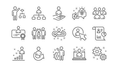 Illustration pour Management line icons. Business people, Algorithm and Group. Startup strategy linear icon set.  Vector - image libre de droit