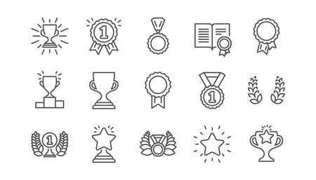 Ilustración de Award line icons. Winner medal, Victory cup and Trophy reward. Achievement linear icon set.  Vector - Imagen libre de derechos