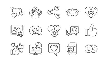 Illustration pour Social media line icons. Share network, Like thumbs up and Rating. Feedback smile linear icon set.  Vector - image libre de droit