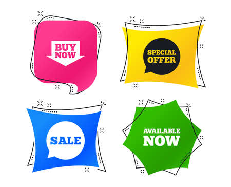 Illustration pour Sale icons. Special offer speech bubbles symbols. Buy now arrow shopping signs. Available now. Geometric colorful tags. Banners with flat icons. Trendy design. Vector - image libre de droit