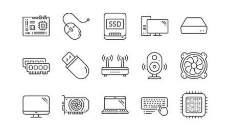 Ilustración de Computer device line icons. Motherboard, CPU and Laptop. SSD memory linear icon set.  Vector - Imagen libre de derechos