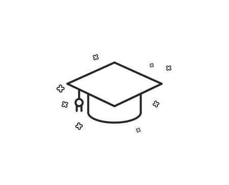 Illustration pour Graduation cap line icon. Education sign. Student hat symbol. Geometric shapes. Random cross elements. Linear Graduation cap icon design. Vector - image libre de droit