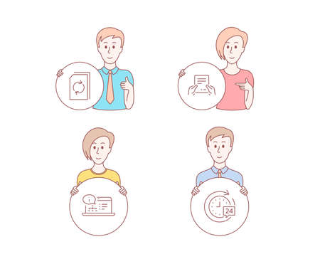 People hand drawn style. Set of Update document, Receive file and Online documentation icons. 24h delivery sign. Refresh file, Hold document, Web engineering. Stopwatch.  Character hold circle button