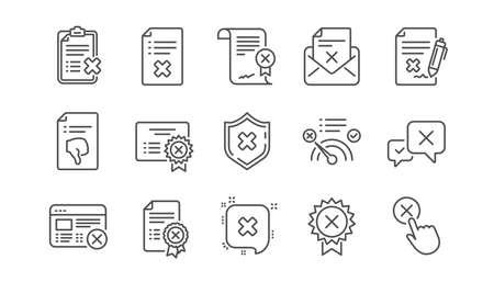 Illustration pour Reject line icons. Decline, Cancel and Dislike. Disapprove linear icon set.  Vector - image libre de droit
