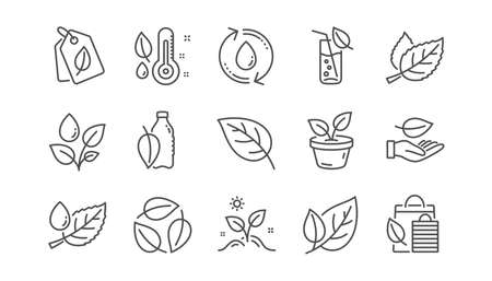 Illustration for Plants line icons. Leaf, Growing plant and Humidity thermometer. Water drop linear icon set.  Vector - Royalty Free Image