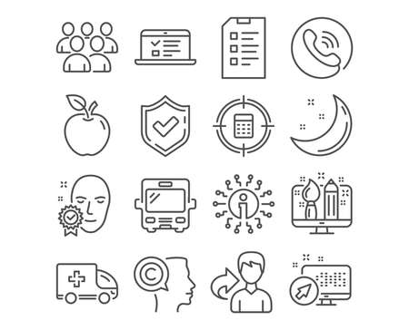 Set of Face verified, Group and Creative design icons. Ambulance emergency, Writer and Bus signs. Web lectures, Calculator target and Checklist symbols. Access granted, Developers, Designer. Vector