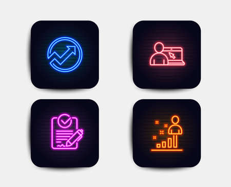 Neon glow lights  Set of Online education, Rfp and Audit icons