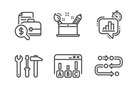 Illustration pour Creativity concept, Survey results and Spanner tool icons simple set. Statistics timer, Accounting report and Methodology signs. Graphic art, Best answer. Technology set. Line creativity concept icon - image libre de droit