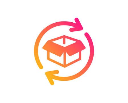 Ilustración de Exchange of goods icon. Return parcel sign. Package tracking symbol. Classic flat style. Gradient return parcel icon. Vector - Imagen libre de derechos