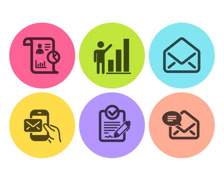 Rfp, Report and Graph chart icons simple set. Mail, Messenger mail signs. Request for proposal, Work statistics. Education set. Flat rfp icon. Circle button. Vector