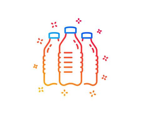Illustration pour Water bottles line icon. Still aqua drink sign. Liquid symbol. Gradient design elements. Linear water bottles icon. Random shapes. Vector - image libre de droit