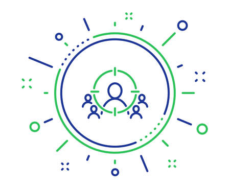 Illustration pour Business targeting line icon. Marketing target strategy symbol. Aim with people sign. Quality design elements. Technology business targeting button. Editable stroke. Vector - image libre de droit