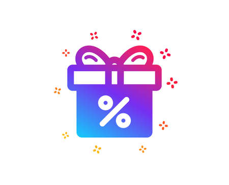 Gift box with Percentage icon. Present or Sale sign. Birthday Shopping symbol. Package in Gift Wrap. Dynamic shapes. Gradient design discount offer icon. Classic style. Vector