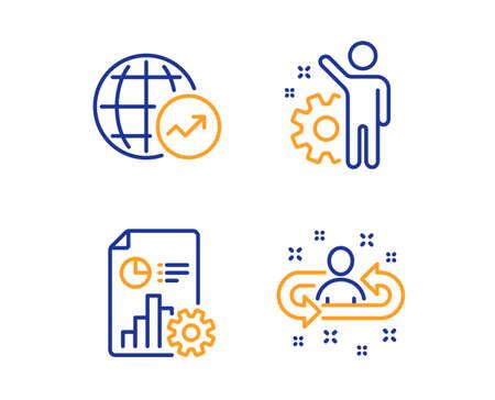 Vektor für World statistics, Report and Employee icons simple set. Recruitment sign. Global report, Presentation document, Cogwheel. Manager change. Linear world statistics icon. Colorful design set. Vector - Lizenzfreies Bild