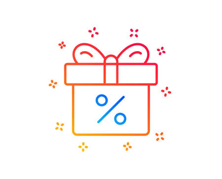 Gift box with Percentage line icon. Present or Sale sign. Birthday Shopping symbol. Package in Gift Wrap. Gradient design elements. Linear discount offer icon. Random shapes. Vector