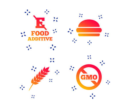 Food additive icon  Hamburger fast food sign  Gluten free and No GMO