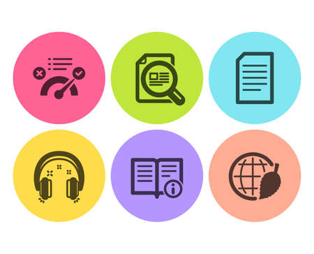 Technical info, Document and Correct answer icons simple set. Check article, Headphones and Environment day signs. Documentation, Information file. Education set. Flat technical info icon. Vector