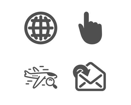 Set of Search flight, Globe and Hand click icons. Receive mail sign. Find travel, Internet world, Location pointer. Incoming message.  Classic design search flight icon. Flat design. Vector