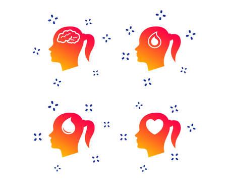 Illustration pour Head with brain icon. Female woman think symbols. Blood drop donation signs. Love heart. Random dynamic shapes. Gradient head icon. Vector - image libre de droit