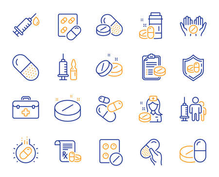 Illustration pour Medical drugs line icons. Healthcare, Prescription and Pill signs. Pharmacy drugs, medical nurse, recipe pill icons. Antibiotic capsule, syringe vaccination, medicine cure. Vector - image libre de droit
