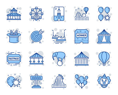 Illustration for Amusement park line icons. Set of Carousel, Roller coaster and Circus icons. Air balloon, Crane claw machine and Fastpass symbols. Circus amusement park tickets. Ferris wheel carousel. Vector - Royalty Free Image