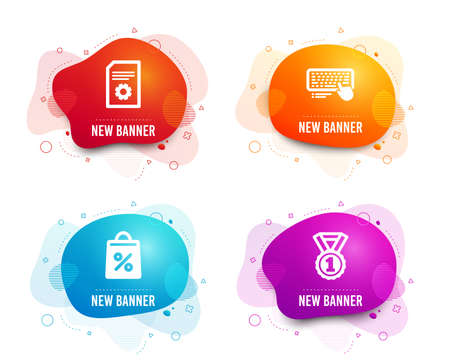 Liquid badges. Set of File settings, Computer keyboard and Shopping bag icons. Best rank sign. File management, Pc device, Supermarket discounts. Success medal.  Gradient file settings icon. Vector