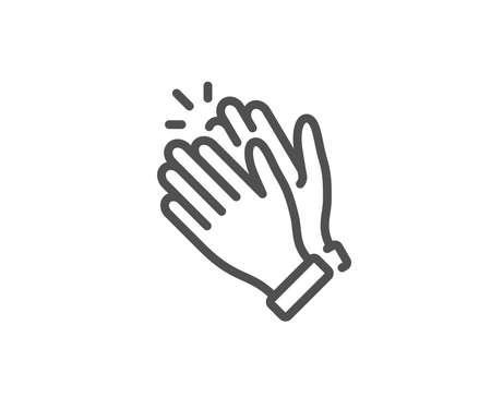 Ilustración de Clapping hands line icon. Clap sign. Victory gesture symbol. Quality design element. Linear style clapping hands icon. Editable stroke. Vector - Imagen libre de derechos