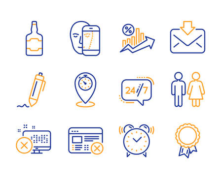 Restroom, Signature and Alarm clock icons simple set. Reject web, Reject access and Loan percent signs. 24/7 service, Whiskey bottle and Incoming mail symbols. Line restroom icon. Colorful set
