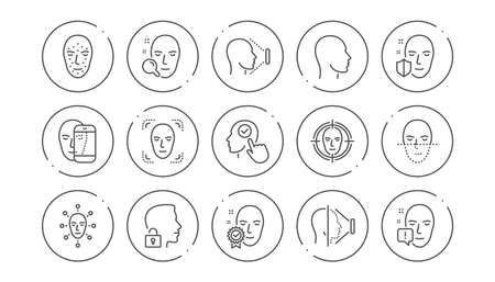 Face recognize line icons. Biometrics detection, Face id and scanning. Identification linear icon set. Line buttons with icon. Editable stroke. Vector