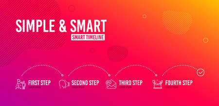 Infographic timeline. Receive mail, Bitcoin project and Face id icons simple set. Creativity concept sign. Incoming message, Cryptocurrency startup, Identification system. Graphic art. Vector