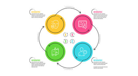 Illustration for Uv protection, Like photo and Journey path icons simple set. Infographic timeline. Time management sign. Ultraviolet, Thumbs up, Project process. User with clock. People set. Cycle infographic. Vector - Royalty Free Image