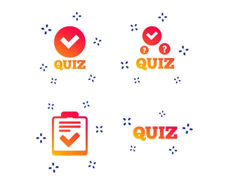 Illustration pour Quiz icons. Checklist with check mark symbol. Survey poll or questionnaire feedback form sign. Random dynamic shapes. Gradient quiz icon. Vector - image libre de droit