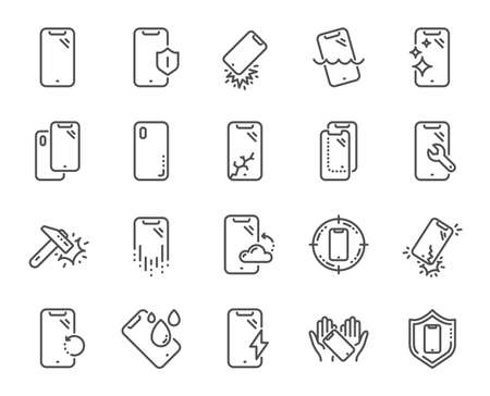 Illustration pour Smartphone protection line icons. Tempered glass, screen protector and water resistant. Phone cover, display glass protection and shockproof device icons. Strong smartphone. Vector - image libre de droit