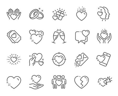 Photo pour Love line icons. Gift box, Broken heart and Romantic letter. Wedding rings, glasses with champagne, love heart icons. Happy couple, heart holding, romantic loudspeaker. Quality design element. Vector - image libre de droit