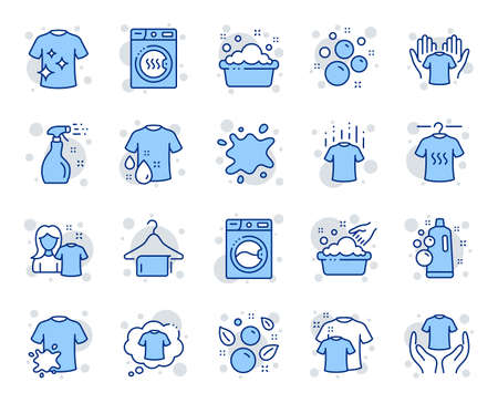 Illustration for Laundry line icons. Dryer, Washing machine and dirt shirt. Hand washing, soap bubbles in basin icons. Dry t-shirt, laundry service, dirty smudge spot. Clean clothes. Vector - Royalty Free Image