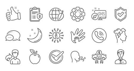 Illustration pour Check mark, Sharing economy and Mindfulness stress line icons. Privacy Policy, Social Responsibility. Linear icon set. Quality line set. Vector - image libre de droit